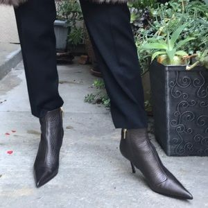 Brown/gold Dolce & Gabbana pebbled leather boots